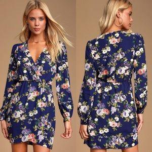 NWT Lulu's Floral Surplice Wrap Dress